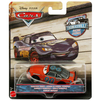 Disney Pixar Cars: Thomasville Racing Legends PONCHY WIPEOUT 1:55 Scale Die-Cast Vehicle in packaging