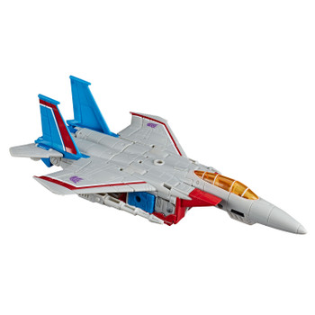Transformers War for Cybertron: Earthrise Voyager Class STARSCREAM Action Figure in jet plane vehicle mode.