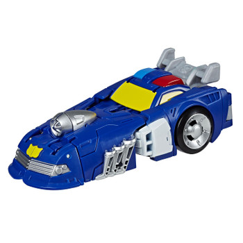 Transformers Rescue Bots Academy Rescan CHASE the Police-Bot in dragster vehicle mode.