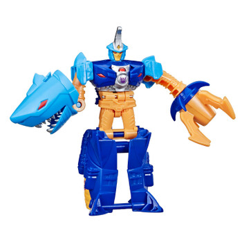 Transformers Cyberverse 1-Step changer Sky-Byte figure stands around 4.25 inches (11 cm) tall.