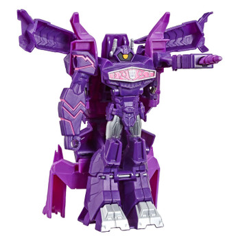 Transformers Cyberverse 1-Step changer Shockwave figure stands more than 4.25 inches (11 cm) tall.