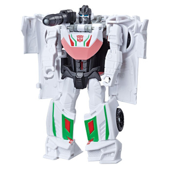 Transformers Cyberverse 1-Step changer Wheeljack figure stands around  4.25 inches (11 cm) tall.