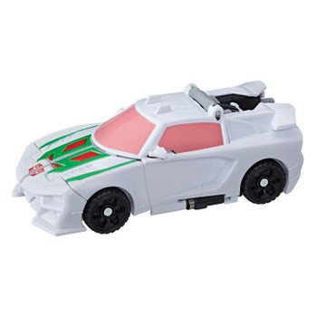 Convert Wheeljack toy from robot to sports car in 1 easy step.