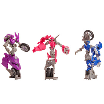 Transformers Studio Series Deluxe Class Revenge of the Fallen Chromia, Arcee, and Elita-1 figures in robot mode.