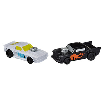 Autobot Daddy-O and Trip-Up figures convert into mini toy cars in 4 steps.