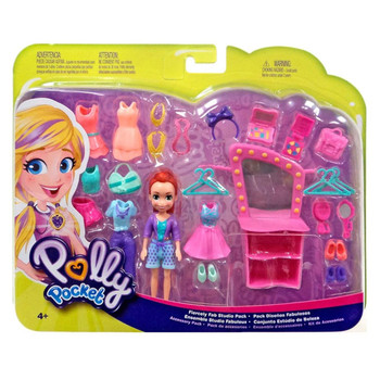 Polly Pocket FIERCELY FAB STUDIO PACK with 9cm LILA Doll in packaging.