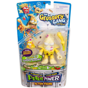 The Grossery Gang Putrid Power SQUISHED BANANA Action Figure in packaging.