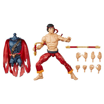 6-inch (15 cm) Legends Series Shang-Chi figure comes with 10 accessories and Build-A-Figure part.