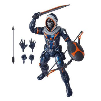 Taskmaster figure comes with alternate hands, sword, shield, bow and arrow.