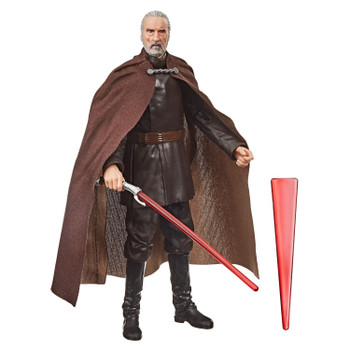 The 6-inch scale Black Series Count Dooku action figure is detailed to look like the character from Star Wars: Attack of the Clones, featuring premium detail and multiple points of articulation.