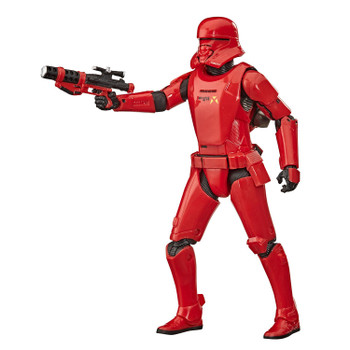The 6-inch scale Black Series figure is detailed to look like the Sith Jet Trooper character from Star Wars: The Rise of Skywalker, featuring premium detail and multiple points of articulation.