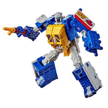 Transformers Generations Selects Deluxe Class WFC-GS12 GREASEPIT Action Figure in robot mode.