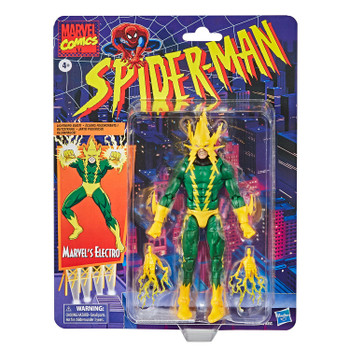 6-INCH-SCALE COLLECTIBLE MARVEL'S ELECTRO FIGURE: Fans, collectors, and kids alike can enjoy this 6-inch-scale Marvel's Electro Retro Collection figure, inspired by the character from the Marvel Spider-Man comics.
