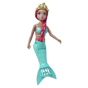 This beautiful 6-inch (15 cm) mermaid has a glittery tail and hair and wears a glamorous tiara.