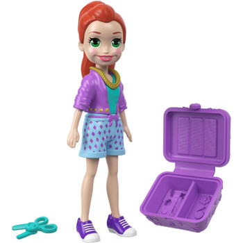 Her purple, green and blue outfit includes shorts, top, and sneakers