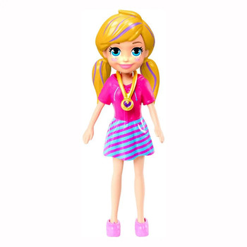 Polly doll's removable outfit includes pink & blue dress, shoes and signature locket