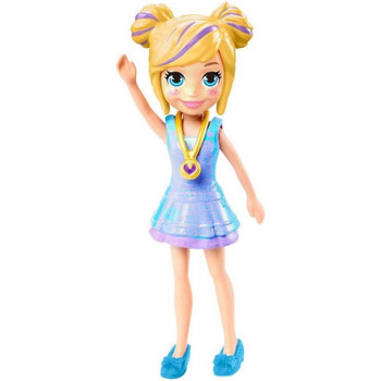 Polly doll's removable outfit includes purple & blue dress, blue shoes and signature locket.