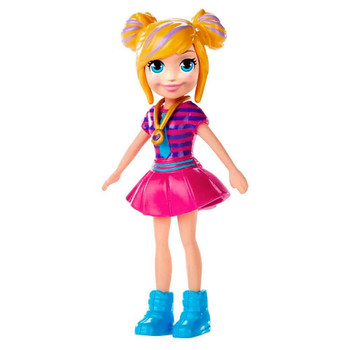 Polly doll's removable outfit includes pink dress, blue boots and signature locket.