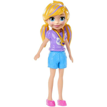 Polly doll's removable outfit includes short-sleeved purple top with panda design, blue shorts, pink shoes and signature locket.