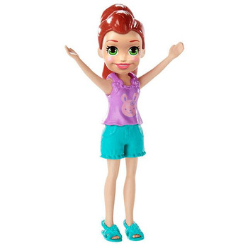 Lila doll's removable outfit includes sleeveless purple top with bunny design, green shorts, and matching sandals.