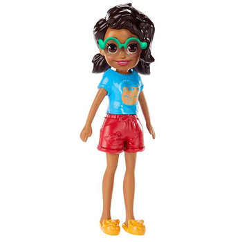 Shani doll's removable outfit includes blue short-sleeved top with cat design, red shorts, slippers and glasses.