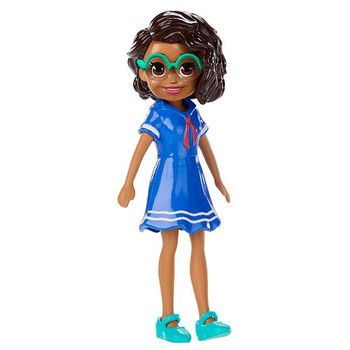 Shani doll's removable outfit includes blue sailor dress, green shoes and glasses.