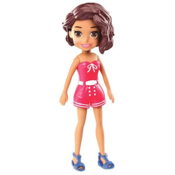 Shani doll's removable outfit includes red strapless romper suit, blue sandals and glasses.