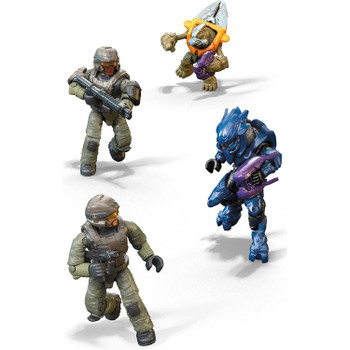 4 highly collectible micro action figures: 2 UNSC Marines, an Elite Mercenary, and a Grunt Conscript, with authentic detail, 12 points of articulation, display stands and interchangeable weapon accessories.