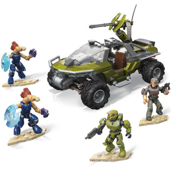 Halo Infinite inspired UNSC Warthog vehicle building set with rolling wheels, cockpit, pivoting turret and working wheelbase suspension