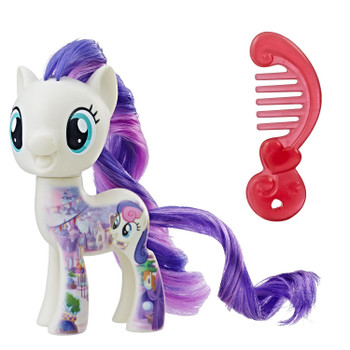 Inspired by My Little Pony: The Movie, this 3-inch Sweetie Drops figure has a design printed on her to resemble a scene in Equestria.