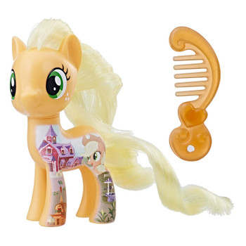 Inspired by My Little Pony: The Movie, this 3-inch Applejack figure has a design on her resembling her family farm in Equestria.