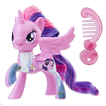 Inspired by My Little Pony: The Movie, this 3-inch Twilight Sparkle figure has a design printed on her to resemble her castle of friendship in Equestria.