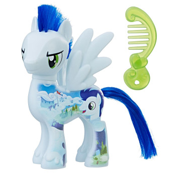 Inspired by My Little Pony: The Movie, this 3-inch-scale Soarin figure has a design printed on him to resemble a Wonderbolts course.