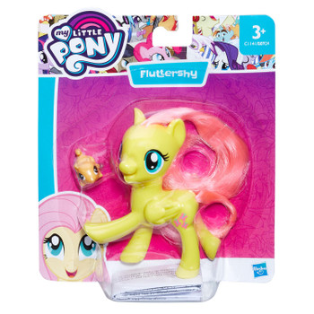 Fluttershy figure stands around 8 cm (3 inch) tall and comes with squirrel friend accessory.