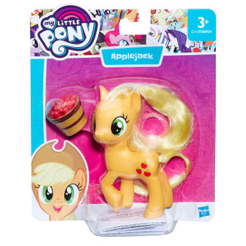 Applejack figure stands around 8 cm (3 inch) tall and comes with apple bucket accessory