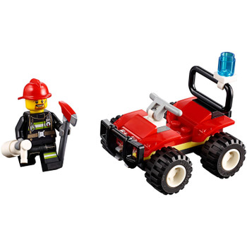 Race to the scene of the fire with this speedy LEGO® City Fire ATV, featuring an all-terrain vehicle firefighter building toy with blue siren bubble light, plus a firefighter minifigure with helmet, axe and a fire extinguisher.
