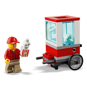 Visit the LEGO City Popcorn Cart and buy a tasty treat! This fun set features an easy to build popcorn cart on wheels with popping function, toy popcorn and striped tub, plus a popcorn seller minifigure.