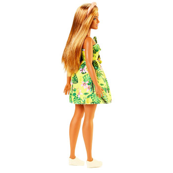 Barbie Fashionistas Doll 126 - Curvy with Blonde Hair wearing Tropical Print Dress