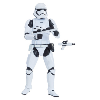 Star Wars The Vintage Collection 3.75-inch-scale First Order Stormtrooper figure that features premium deco across multiple points of articulation and design inspired by Star Wars: The Force Awakens.
