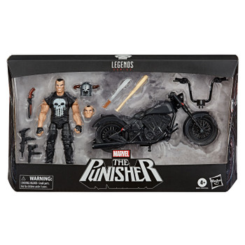 Marvel Legends 6-Inch THE PUNISHER Action Figure with Motorcycle & Accessories in packaging.