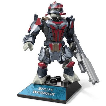 Buildable Halo Infinite inspired Brute Warrior micro action figure with deluxe decoration.