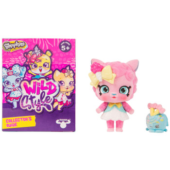 Includes 2.5 inch (6.5 cm) flocked Sugar Swirl Shoppet, 1 inch (2.5 cm) Netta Knit Shopkin, Shoppet Stand, and Collector's Guide.