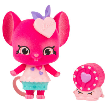 "Meet Squeak Sweetie - A true romantic, Squeak Sweetie puts her heart into everything she does, especially when it comes to matchmaking! There's nothing sweeter than when you meet her because she's never afraid of saying ""I Love You!"" With her little Shopkin Wizzy Wheel, they are always on the go!"