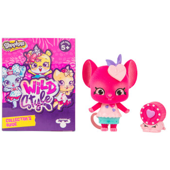 Includes 2.5 inch (6.5 cm) flocked Squeak Sweetie Shoppet, 1 inch (2.5 cm) Wizzy Wheel Shopkin, Shoppet Stand, and Collector's Guide.