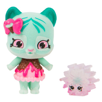 "Meet Minty Paws - Every day's a new adventure for this ""No Fear"" Shoppet! There's so much she wants to get her paws into. Her friends are always telling her to chill before she has a meltdown, but Minty Paws has too many places to explore with her Frozen Flakes Tribe and her Shopkin, Crystal Snowflake."