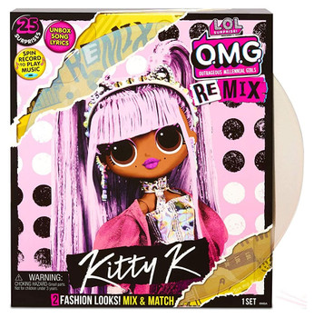 Unbox L.O.L. Surprise! O.M.G. Remix fashion doll – Kitty K – with 25 surprises.