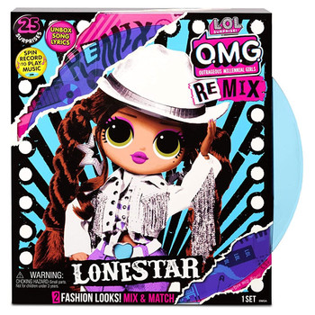UNBOX 25 SURPRISES with L.O.L. Surprise! O.M.G. Remix fashion doll, Lonestar. She has stunning features, styled hair and articulated for tons of poses!
