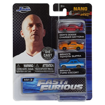 This 3-pack includes: Dom's Dodge Charger Daytona, Brian's Toyota Supra, Brian's Ford Escort.