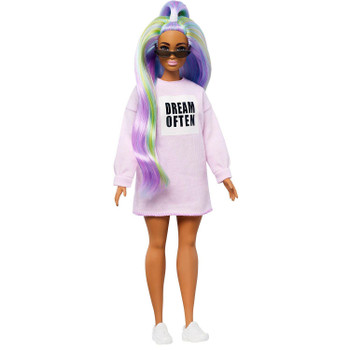 "Barbie doll has a curvier body type than the original and wears a pink sweatshirt dress with the message ""dream often""."