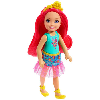 Barbie Dreamtopia Chelsea Sprite Doll, 5.5-inch, with Pink Hair Wearing Fashion and Accessories.